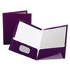 Oxford High Gloss Laminated Folder, 100-Sheet Capacity, Purple, 25/Box (ESS51726)