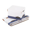 Bankers Box Quick/Stor Storage Box, Letter/Legal, Locking Lid, White/Blue, 4/Carton (FEL0078907)