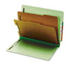 Globe-Weis Pressboard End Tab Classification Folders, Six Sections, Letter, Green, 10/Box (GLW23224)