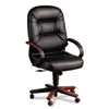 Hon 2190 Pillow-Soft Wood Series Executive High-Back Chair, Mahogany/Black Leather (HON2191NSR11)