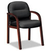 Hon 2190 Pillow-Soft Wood Series Guest Arm Chair, Mahogany/Black Leather (HON2194NSR11)
