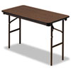 Iceberg Economy Wood Laminate Folding Table, Rectangular, 48w x 24d, Walnut (ICE55304)