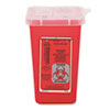 Impact Sharps Waste Receptacle, Square, Plastic, 1 qt, Red (IMP7350)