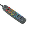 Kensington SmartSockets Color-Coded Strip Surge Protector, 6 Outlets, 8ft Crd (KMW62144)