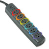 Kensington SmartSockets Color-Coded Strip Surge Protector, 6 Outlets, 7ft Cord (KMW62147)