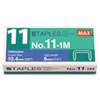 Max No. 11 Mini Staples for HD-11FLK, 1/4 Leg, 3/8Crown Flat Clinch, 1,000/Box (MXBNO111M)