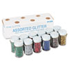 Pacon Spectra Glitter, .04 Hexagon Crystals, Assorted, .75 oz Shaker-Top Jar, 12/Pack (PAC91356)