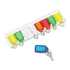 Securit Color-Coded Key Tag Rack, 8-Key, Plastic, White, 10 1/2 x 1/4 x 2 1/2 (PMC04991)