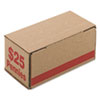 Pm Company Corrugated Cardboard Coin Storage w/Denomination Printed On Side, Red (PMC61001)