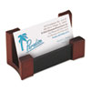 Rolodex Wood/Leather Business Card Holder, Capacity 50 2 1/4 x 4 Cards, Black/Mahogany (ROL81766)