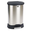Rubbermaid Commercial Step-On Container, Oval, Stainless Steel, 30 gal, Black (RCP614787BK)