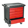 Rubbermaid Commercial Five-Drawer Mobile Workcenter, 32-1/2w x 20d x 33-1/2h, Black Plastic Top (RCP773488)