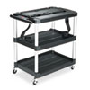 Rubbermaid Commercial MediaMaster 3-Shelf AV Cart, 18-5/8w x 32-1/2d x 32-1/8h, Black (RCP9T28)