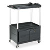 Rubbermaid MediaMaster 3-Shelf AV Cart with Cabinet, 18-5/8w x 32-1/2d x 42-3/8h, Black (RCP9T32)
