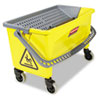 Rubbermaid Commercial Hygen HYGEN Press Wring Bucket for Microfiber Flat Mops, Yellow (RCPQ90088YW)
