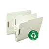 Smead Recycled Pressboard Fastener Folders, Letter, 2 Exp., Gray-Green, 25/Box (SMD15004)