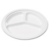 Naturehouse Bagasse 10 Three-Compartment Plate, Round, White, 125/Pack (SVAP007)